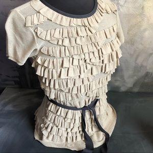 Les Copains ruffle knit top in tan beige- m